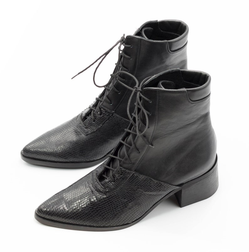 Womens Black Snake Leather Lace Up Ankle Boots Comfortable  513ebb474f