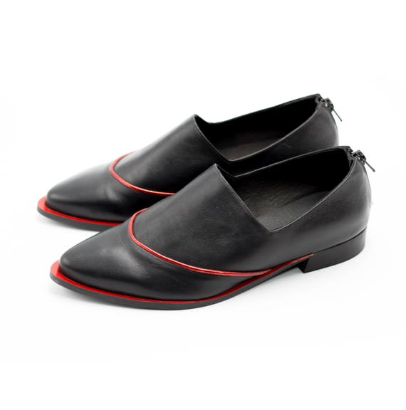 Handmade Shoes Elegant Flats Shoes Shoes Shoes Flat Women Black with Pointy Shoes Black Leather Red Comfortable Formal Shoes xn6P8R