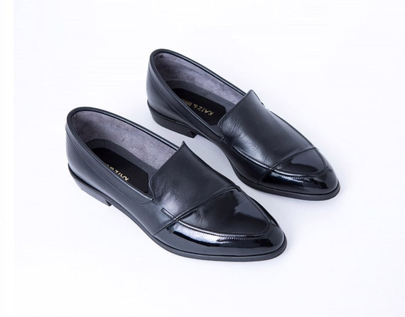 Women Black Leather Loafers Shiny