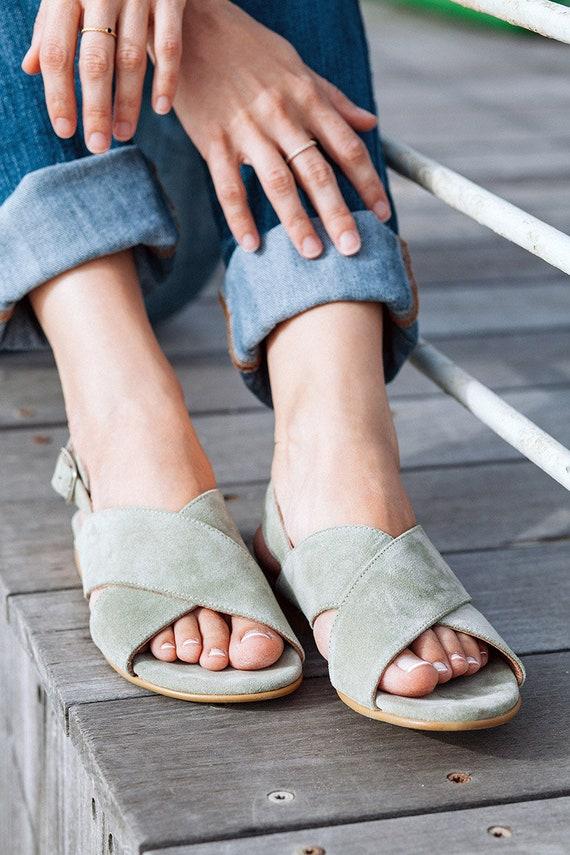 6960dbb09f8ca Women Sandals, Leather Sandals, Criss Cross Sandals, Flat Sandals, Handmade  Shoes, Slingback Sandals, X Sandals, Light Green Sandals