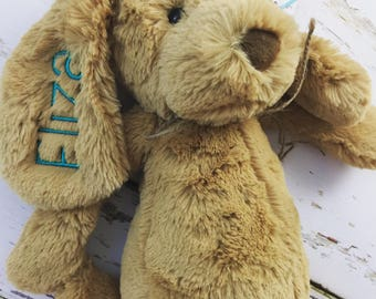 Personalized Jellycat Puppy Dog, Monogrammed Dog, Monogrammed Stuffed Animal, Jellycat Dog, Personalized Animal, Monogram Puppy, Puppy Dog