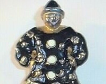 Nice Black and White Enamel Vintage Clown Brooch  Item Information Condition: --