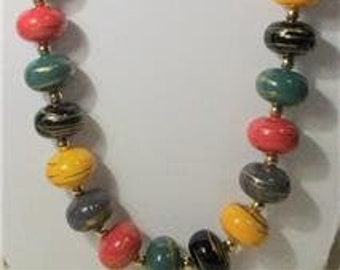 Vintage Beaded Necklace Multi Color Single Strand
