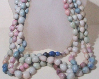 Long Beaded Strand Vintage Necklace Pastels