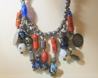 Vintage Tribal Beaded Drops Necklace