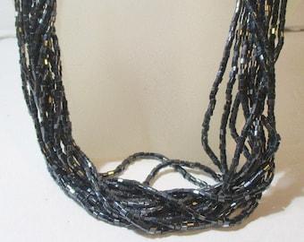 Vintage Black Beaded Multi Strand Necklace