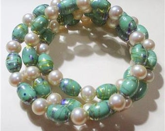 Pearl and Green Vintage Glass Wrap Bracelet