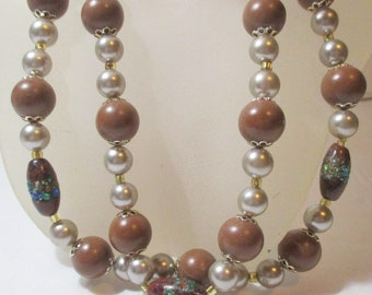 Double Strand Brown Pearl and Art Glass Vintage Necklace
