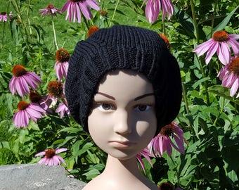 Hand Knit Black Wool Child's Beret / Hat