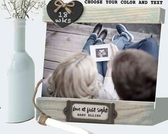 Pregnancy Love at first sight frame mom to be gift, pregnant mom gift expecting mom,  pregnancy congratulations gift, 4 x 6 ultrasound frame