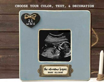 Ultrasound frame etsy pregnancy announcement gift the adventure begins frame congratulations pregnancy gift personalized ultrasound frame pregnancy countdown baby negle Images