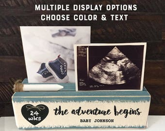 Pregnancy gift for expecting mom, ultrasound Pregnancy Announcement, the adventure begins frame baby countdown, personalized mom to be gift