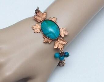 Copper Bracelet, Large Size Bracelet, Large Wrist, Turquoise Bracelet, Copper Leaf Bracelet, Autumn Bracelet, Fall Bracelet, Leaf Bracelet