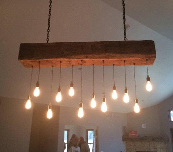 60 Reclaimed Barn Beam Light Fixture With Led Edison Etsy