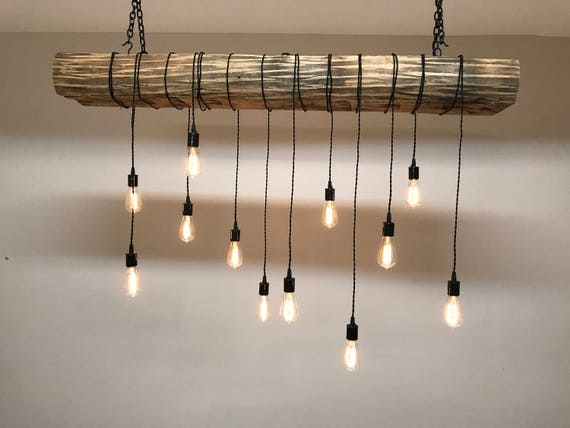Extra Large Live Edge Olive Wood Chandelier. Rustic And Industrial Light Fixture