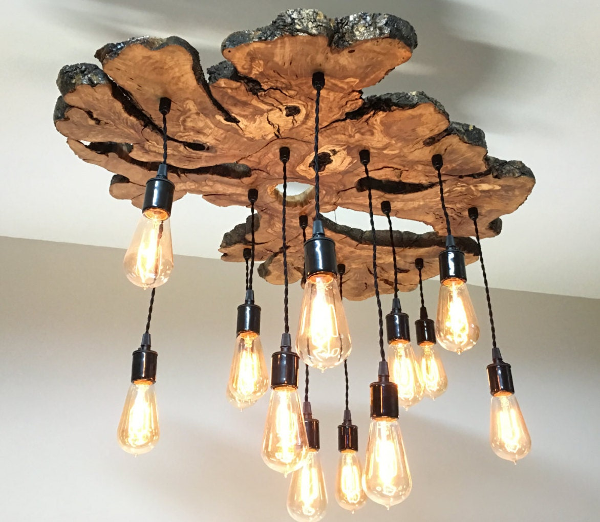 Large live edge olive wood slab chandelier light fixture modern industrial rustic earthy