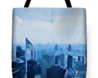 New York tote, New York City tote, nyc Tote, NYC Skyline tote, NYC Bag, NYC blue tote, Manhattan Tote Bag, Artsy new york tote, blue tote