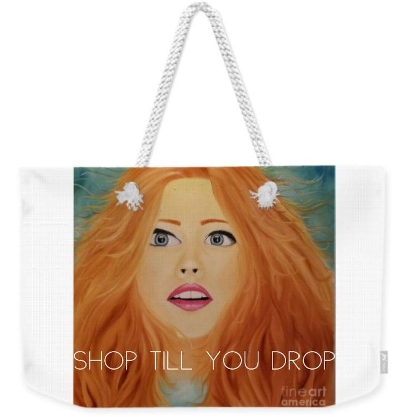Red Hair Large Tote,Girl print tote,portrait tote bag,teal shoulder bag,personalized tote,pretty bag,girl overnight bag,teal tote bag,bag
