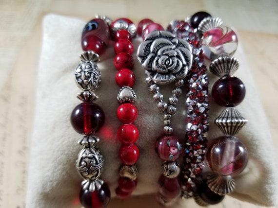 Red and Silvertoned Vintage Bracelets Lot #B81; C… - image 4
