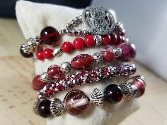 Red and Silvertoned Vintage Bracelets Lot #B81; C… - image 2