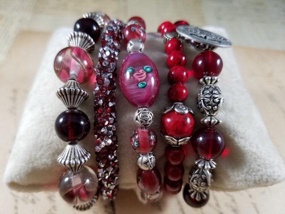 Red and Silvertoned Vintage Bracelets Lot #B81; C… - image 3