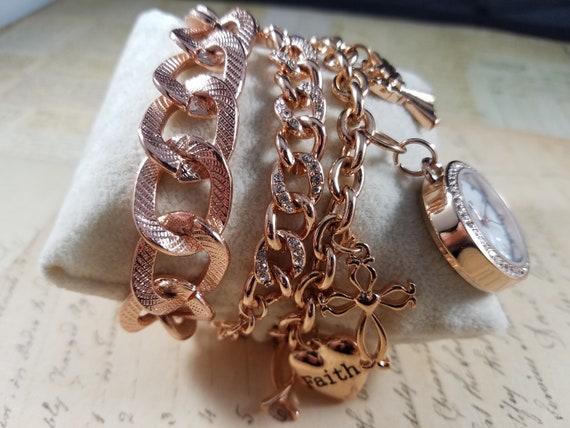 Pink Goldtone Watch Christian Vintage Bracelets L… - image 2