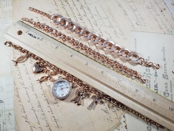 Pink Goldtone Watch Christian Vintage Bracelets L… - image 9