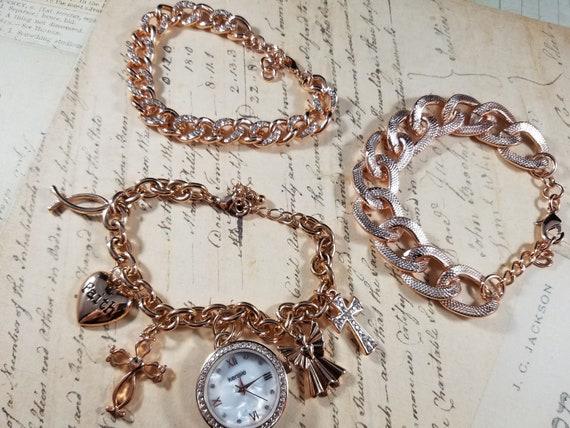 Pink Goldtone Watch Christian Vintage Bracelets L… - image 10