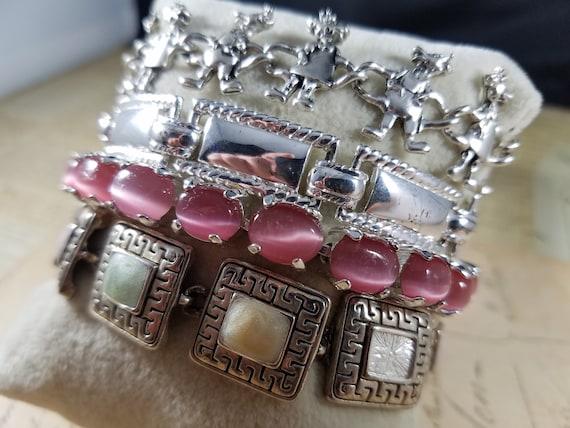 Pink and Silver Vintage Bracelets Lot #B80; Costu… - image 1