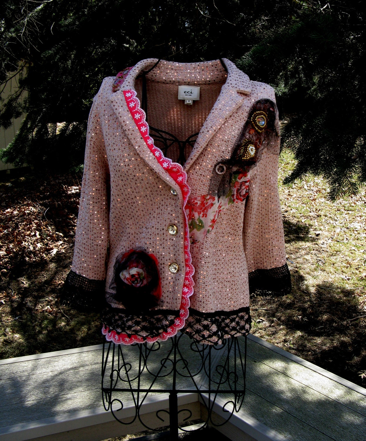 f3b95f2feeeb Art to Wear Sequined Sweater Jacket Gypsy Fairy Boho Romantic ...