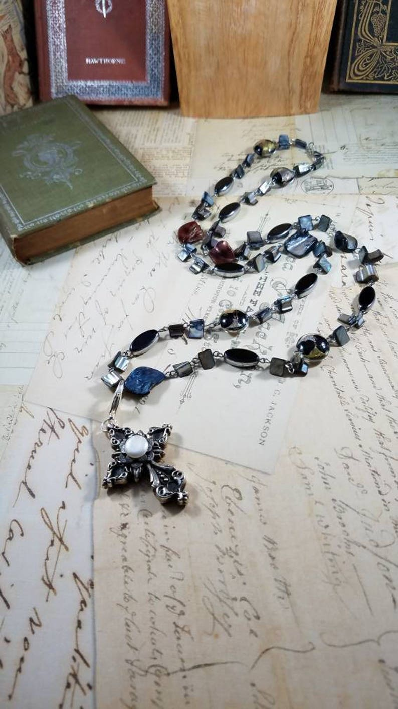 Shades of Grey Mother of Pearl and Pewter Cross Gypsy Boho Necklace Pendant