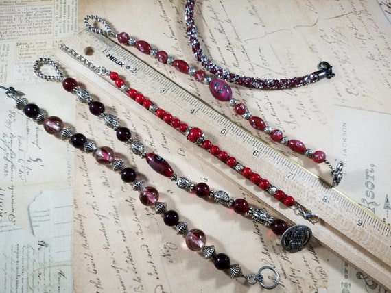 Red and Silvertoned Vintage Bracelets Lot #B81; C… - image 10