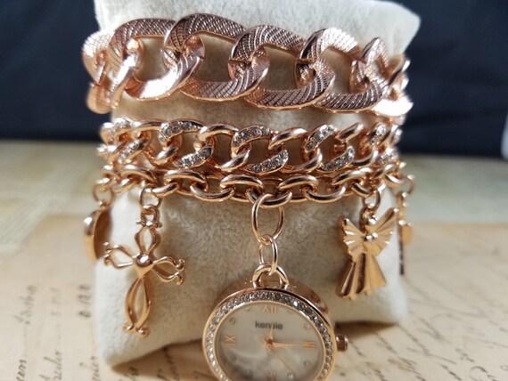 Pink Goldtone Watch Christian Vintage Bracelets L… - image 8