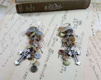 Shell Coins  Boho Cross Dangle Earrings