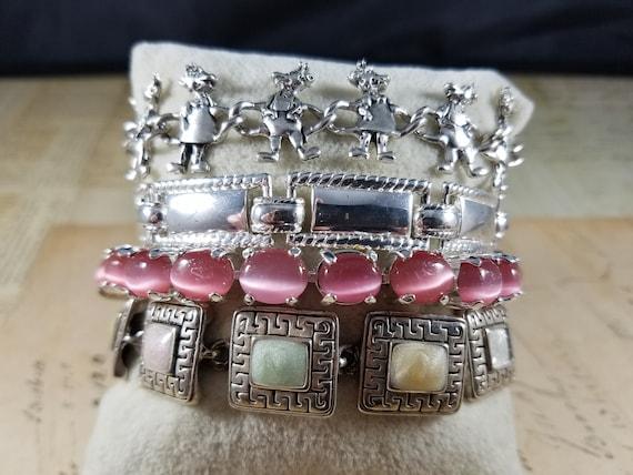 Pink and Silver Vintage Bracelets Lot #B80; Costu… - image 10