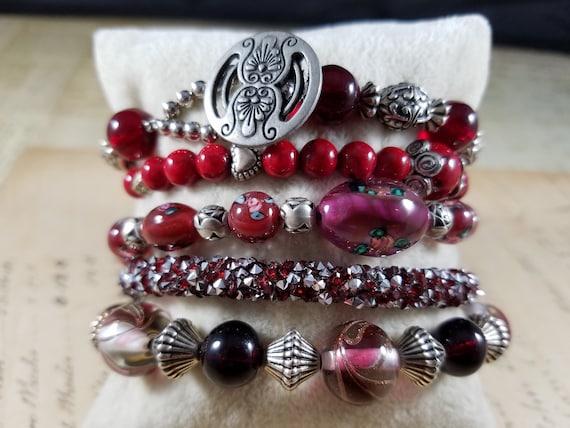 Red and Silvertoned Vintage Bracelets Lot #B81; C… - image 1