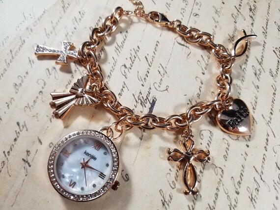 Pink Goldtone Watch Christian Vintage Bracelets L… - image 4