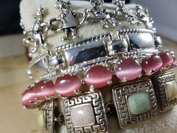 Pink and Silver Vintage Bracelets Lot #B80; Costu… - image 4