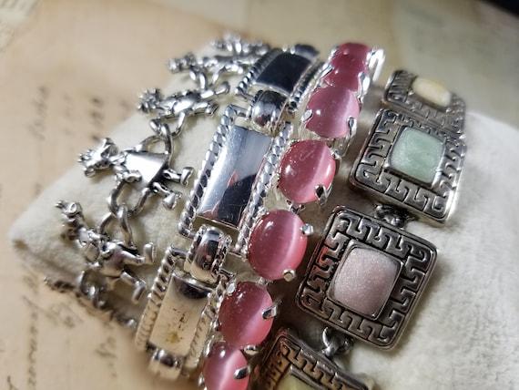 Pink and Silver Vintage Bracelets Lot #B80; Costu… - image 7