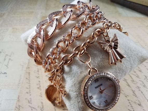 Pink Goldtone Watch Christian Vintage Bracelets L… - image 1