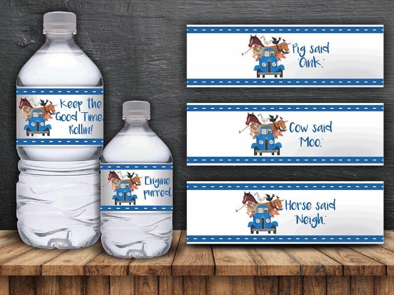 Li'l Blue Truck Water Bottle Labels  Digital Files image 0