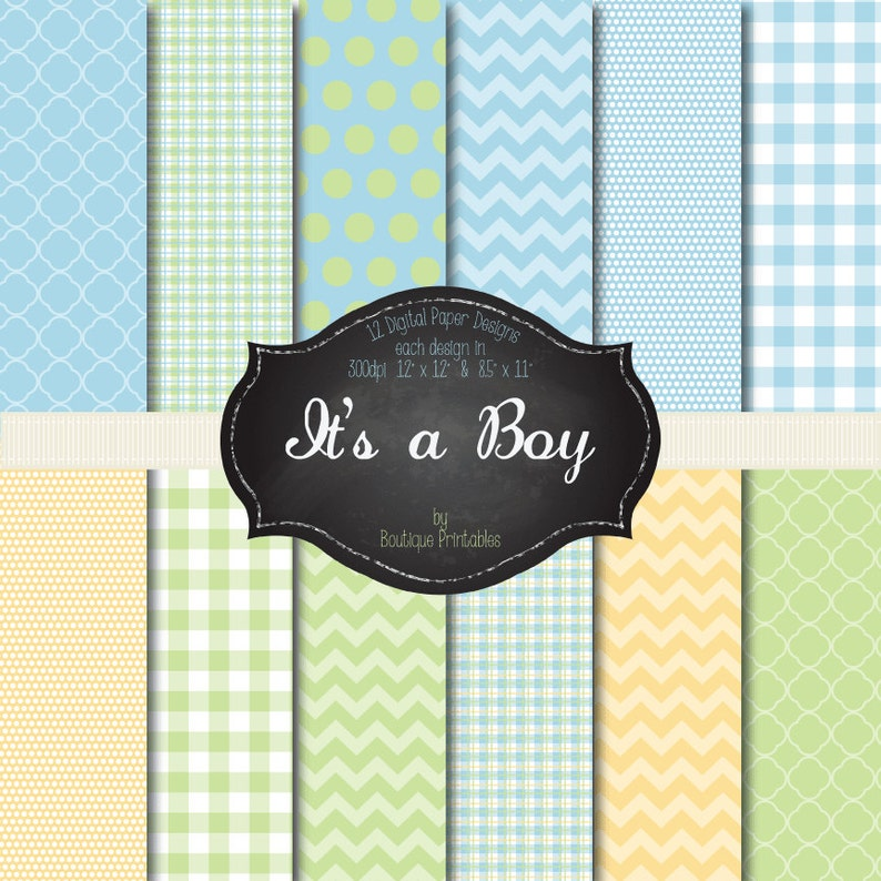 It's a Boy blue green and yellow digital papers  12x12 image 0