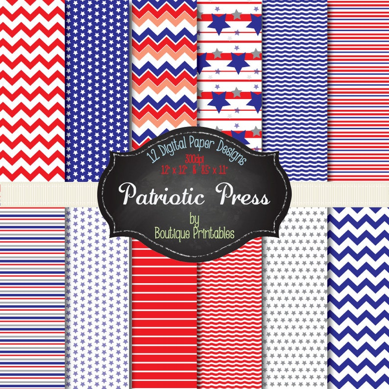 Patriotic Press Red & Blue digital papers  12x12 and 8.5x11 image 0