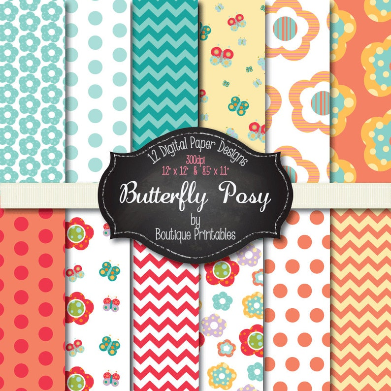 Butterfly Posy digital papers  12x12 and 8.5x11 300 dpi image 0