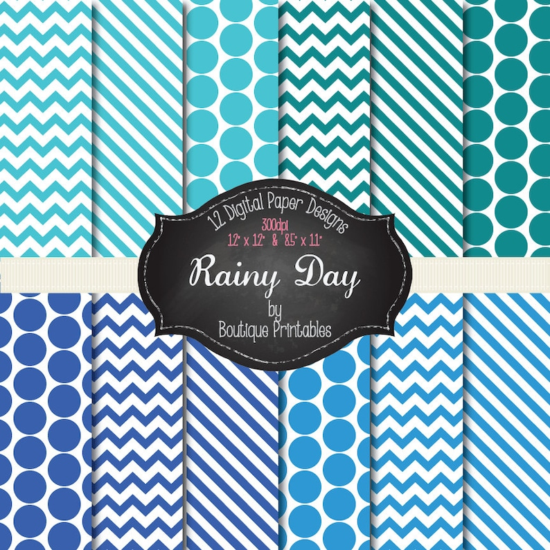Rainy Day  Blue digital papers  12x12 and 8.5x11 300 dpi image 0