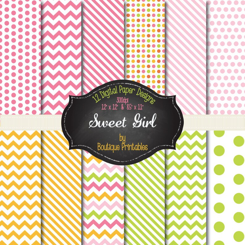 Sweet Girl  Pink Green & Yellow digital papers  12x12 and image 0
