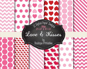 Love & Kisses- Valentine's digital papers - 12x12 and 8.5x11 300 dpi