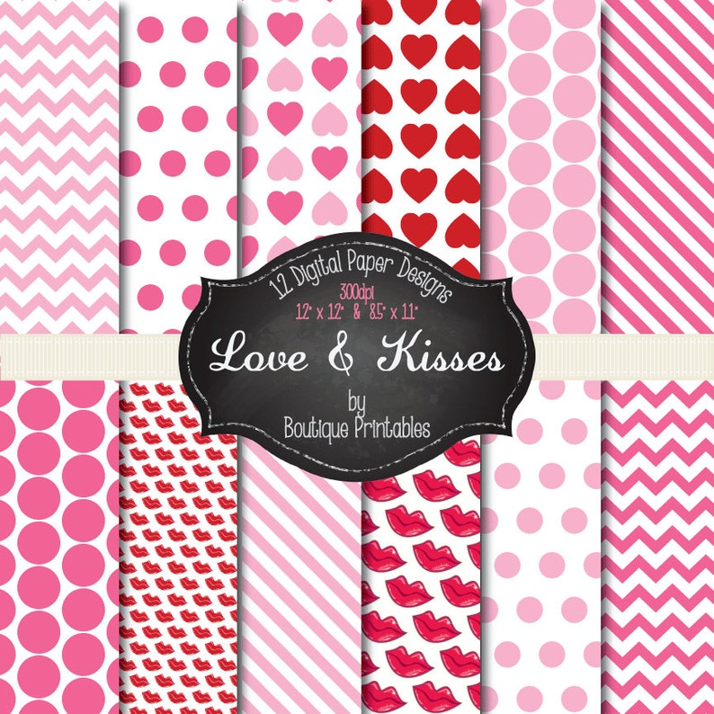 Love & Kisses Valentine's digital papers  12x12 and image 0