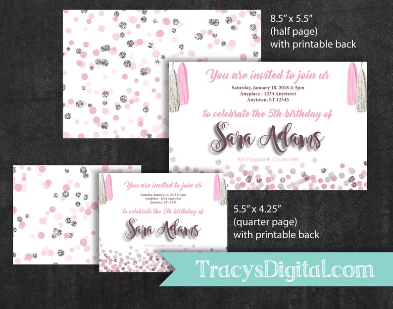 Pink and Silver Glitter Invitation  Digital Invitation Kit  image 0