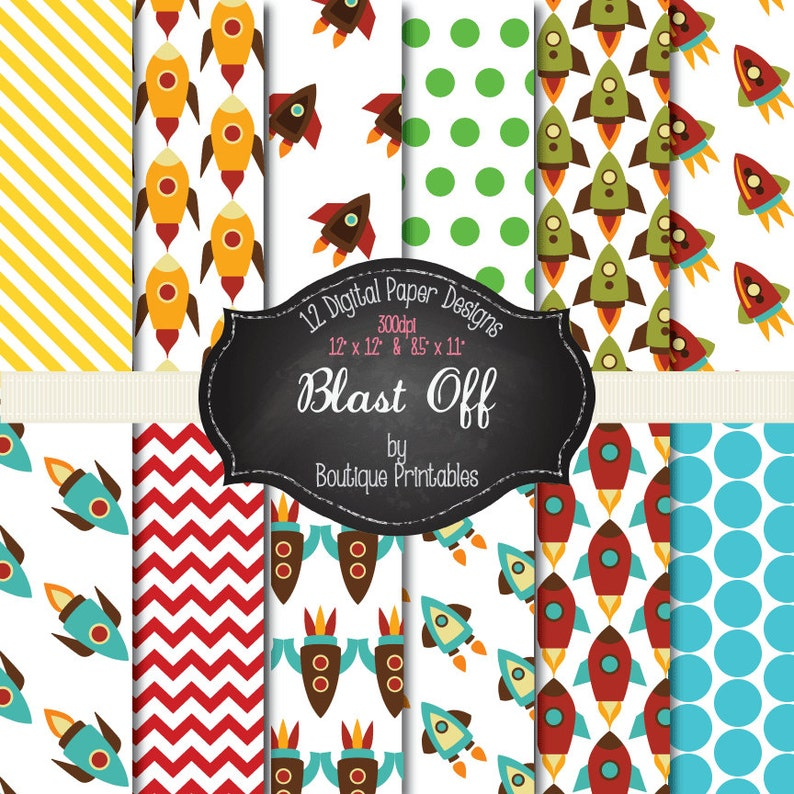 Blast Off  Rocket digital papers  12x12 and 8.5x11 300 dpi image 0